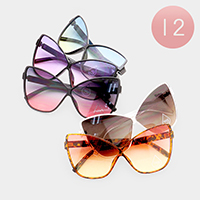 12PCS - Oversized Oceanic Color Lens Butterfly Shaped Sunglasses