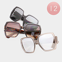 12PCS - Oversized Wayfarer Angular Sunglasses