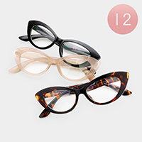 12PCS - Clear Lens Cat Eye Sunglasses