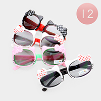 12PCS - Cute Bow Detail Cat Kids Sunglasses