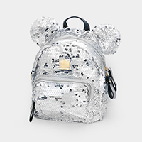 Sequin Cute Bear Ears Detail Kids Mini Backpack Bag