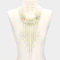 Multi Strand Crystal Pearl Necklace