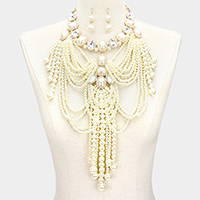 Stone Draped Multi Strand Pearl Fringe Bib Necklace