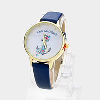 Floral Anchor Round Faux Leather Strap Watch
