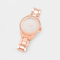 Round Crystal Rhinestone Pave Metal Band Watch