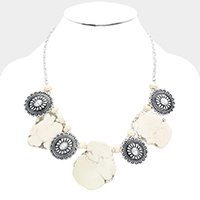 Abstract Howlite Flower Repousse Concho Bib Necklace
