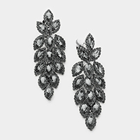 Marquise Crystal Oval Cluster Vine Clip Earrings