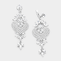 Marquise Crystal Heart Chandelier Clip Evening Earrings