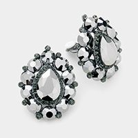 Glass crystal bubble teardrop clip on earrings