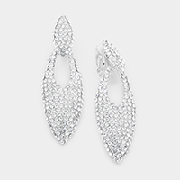 Crystal Rhinestone Pave Cut Out Oval Clip Earrings