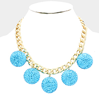 Metal Chain Shamballa Ball Fringe Bib Necklace