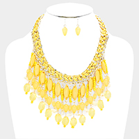 Metal Chain Multi Beaded Fringe Bib Necklace