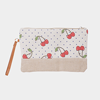 Cherry Pattern Print Clutch Bag