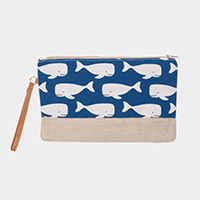 Whale Pattern Print Clutch Bag