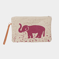 Elephant Print Clutch Bag