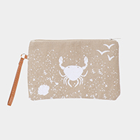 Crab Print Clutch Bag