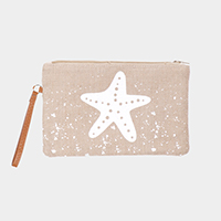 Starfish Print Clutch Bag