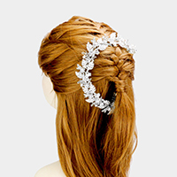 Stone Floral Leaf Cluster Hair Comb