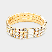 3Rows Crystal Rectangle Accented Stretch Bracelet