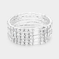 5Rows Crystal Rectangle Accented Stretch Bracelet