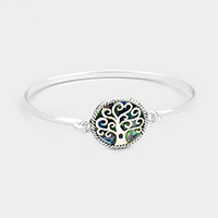 Round Abalone Tree of Life Hook Bracelet