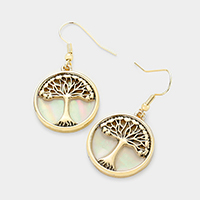 Mother of Pearl Tree of Life Dangle Earrings