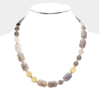 Rectangle Round Semi Precious Beaded Necklace