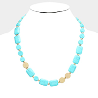 Rectangle Round Turquoise Beaded Necklace