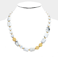 Rectangle Round Howlite Beaded Necklace