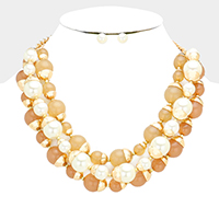 Triple Strand Pearl Round Ball Bib Necklace