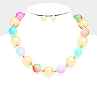 Colorful Ball Metal Ball Necklace