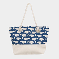 Whale Pattern Canvas Beach Tote Bag