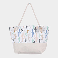 Cactus Pattern Canvas Beach Tote Bag