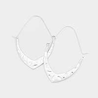 Chevron Metal Accented Oval Pin Catch Earrings