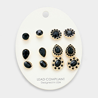 6Pairs Mixed Stone Stud Earrings