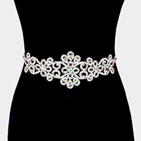 Floral Crystal Rhinestone Pave Sash Ribbon Bridal Wedding Belt