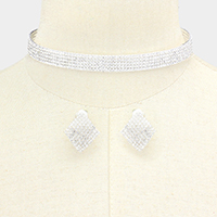 5Rows Crystal Rhinestone Pave Cuff Choker Necklace