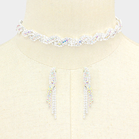 Twisted Crystal Rhinestone Pave Choker Necklace