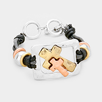 Double Cross Detail Toggle Bracelet