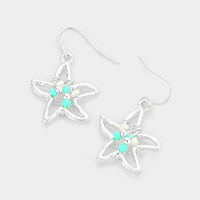 Wire Wrapped Bead Starfish Dangle Earrings