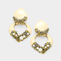 Pearl Stone Cluster Cut Out Metal Link Earrings