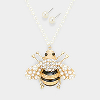 Pearl Cluster Honey Bee Pendant Necklace