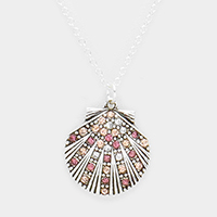 Crystal Rhinestone Pave Shell Pendant Necklace