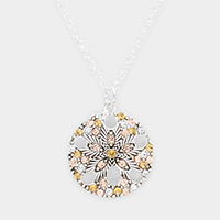 Crystal Rhinestone Pave Sand Dollar Pendant Necklace