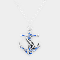 Crystal Rhinestone Pave Anchor Pendant Necklace