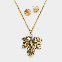 Stone Cluster Leaf Pendant Long Necklace