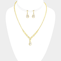 Crystal Rhinestone Pave Crystal Teardrop Dangle Necklace