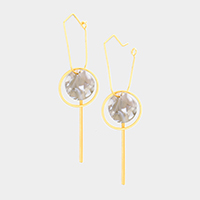Round Celluloid Acetate Geometric Metal Dangle Earrings