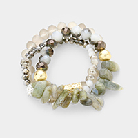 3PCS Abstract Marbled Beaded Detail Stretch Bracelet