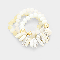 3PCS Abstract Howlite Beaded Detail Stretch Bracelet